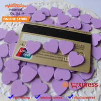 Free Shipping (1000pcs/lot) Miniature Wooden Love Heart Pieces for Craft Card Making Home Decoration- 18mm - Purple
