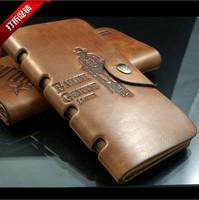 Fashion New Stylish Men Wallet Genuine Cow Leather Long Pockets  Card Clutch  Bifold Purse High Quality Man's Wallets WA-006