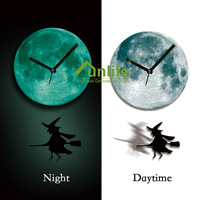 Funlife Exclusive Halloween Witch Pendulum Glowing Moon Clock Luminous in the Night for Festival Children Room Decoration