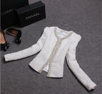 Winter Autumn Outerwear Vintage Elegant Office Ladies Diamond White Black Coat Suit Jacket And Blazer Women Branco Feminino 2014