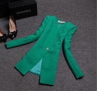 Autumn Winter Women Outerwear Vintage Elegant Office Ladies Candy Color Coat Suit Jacket And Blazer Women Branco Feminino 2014