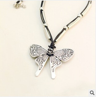 European and American vintage dragonfly necklace string tube