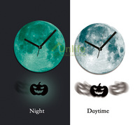 Funlife 30cm Dia Acrylic Halloween Pumpkin Jack-o'-lantern Pendulum Glowing Moon Wall Clock Luminous Gift for Home Decoration