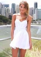 2014 New Summer V-neck Backless White Dress  Summer chiffon dress
