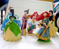 6pcs/set Cartoon Action Figure Toys Princess Merida//Tiana/Snow White/Cinderella/Mulan/Ariel 9CM Cartoon Figure Toy For Children