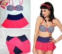High Waist SwimSuit Stripe Bra+Pink Skirt  Women Top Fashio Brazilian Halter Push Up Swimwear High Quality Brand Name