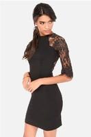 Plus Size XS-XXL Hot Sale 2014 New Autumn Sexy O-Neck Half Sleeve Sheath Min Dress Lace Patchwork Sexy Party Dress Free Shipping