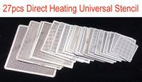 (27 pcs/lot) BGA Reball Reballing Stencil Template Direct Heating Universal Stencil