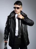 Free shipping 2014 New Quinquagenarian men's leather clothing men genuine leather jacket medium-long mink Fur nick coat M-XXXL