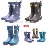 2014 Fashion Korean Women Rubber Rain Boots Flat Heels Mid-calf Rainboots Short Water Shoes Good Quality  #TS76