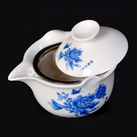 Two Piece Pottery Gaiwan - Bowl with Lid for Steeping Tea(Peony),200ML,Free Shipping