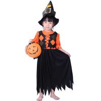 Halloween costume for children girls witch pumpkin dress children costume
