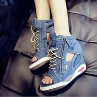 2014 New Arrival Women Cowboy Shoes,Comfortable Wedge Sneakers,Brand Women Jean Sneaker Free Shipping