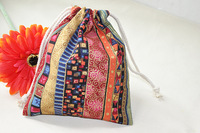 5pcs/lot Linen Handcraft fabric Aztec Tribe Stripe Retro Plain small storage bag Jewellery Gift Cosmetic Bag drew string 14x16cm
