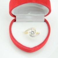 Elegent 22K yellow gold filled full Cubic zircon simulation of diamond eternal wedding rings for women girls