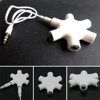 6 Ports 3.5mm Stereo Audio 6-Way Headset Hub Splitter Up to 5 Headphones for iPod MP3 Mp4 3 Color Hub Splitter Free Shipping