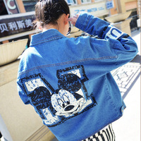 2014 autumn women's desigual Mickey Mouse print long sleeve jeans jacket famale denim cardigan coat free shipping sale JA10013