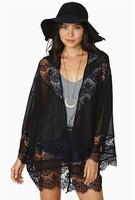 Plus Size XS-XXL 2014 American&European Fashion Chiffon Lace Patchwork Kimono Blouses Batwing Sleeve Blouses