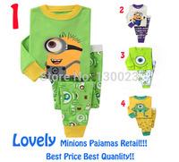 2014 New Cartoon Descipable me Baby Pijamas Boy Minions Pajamas Girl Pajama Set Children Pyjamas Kids Clothing Set Free Shipping