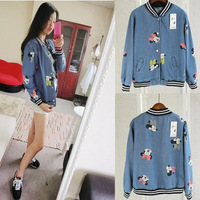 New 2014 autumn women cartoon mickey moust print washed casual denim jeans baseball jacket coat female on sale JA10015