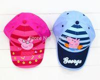 100% Acrylic boys george visors caps fashion girls peppa pig sun hat kids brand peppa hats for 1-6years
