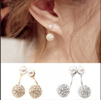 Sunshine jewelry store Korean Earrings Fashion Full Rhinestone Double Ball Pearl Earrings