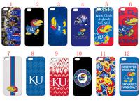 free shipping 12PCS/LOT(12style) ku jayhawks white hard case back cover for iPhone5 5th 5S