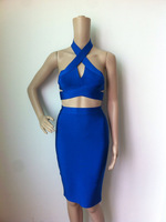 Free shipping 2014 new women's blue 2014 2 piece Set top & skirt bandage Celebrity dress HL Sexy Cocktail Party Prom Dresses