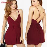 Fashion sexy richcoco racerback V-neck cross spaghetti strap chiffon jumpsuit shorts d246