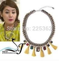 Free Shipping-(Min.Order$20)2014 Fashion Lady Hot Sale Yellow Tassel Diamond Necklace