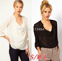 fashion women zara2014 Casual Ladys Chiffon Tops Blouse Drape Pleated V-Neck Fashion Solid Long Sleeve body Black Whiter