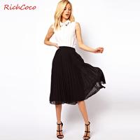 Fashion street fashion brief high pressure pleated waist double layer solid color chiffon pleated skirt bust skirt medium skirt