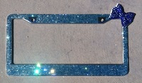 45 colors available Free shipping(10pcs/lot) wholesale Fashion 3D Bow crystal license plate frame for car