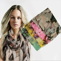 Spain brand desigual scarf print floral designer scarfs women scarves,ladies scarves 2014 voile shawl light thin warp,CSs