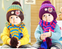 2014 winter children scarves hats sets boys girls kids warm striped sets fashion unisex knitting wool headgear caps freeshipping