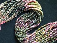 Wholesale (2 strands/lot) natural tourmaline 2-3*5mm rondelle beads mix color stone