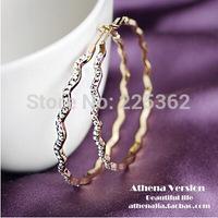 Free Shipping-(Min.Order$20)2014 Lady Fashion Hot Sale Super Luxury Circular Waves Flash Diamond Big Ears High-end Earrings