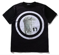 Free shipping black grey circular ring man t-shirts brand T shirt hiphop short sleeve top cotton shirts S M L XL XXL  TT- 120