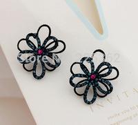 Free Shipping-(Min.Order$20)2014 Hot Sale Lady Fashion Vintage Do Old Fireworks Flowers Diamond Stud Earrings  Dark Blue