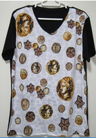 Baroque Medusa coin printed T-SHIRT slim fit man T shirt V neck short sleeve shirts cotton tee shirt S M L XL XXL   TT-129