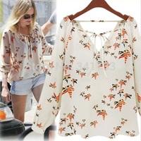 women 2014 elegant bird print white blouse/v-neck casual shirt/brand designer tops/mujer ropa camisetas femininas blusas/WfL