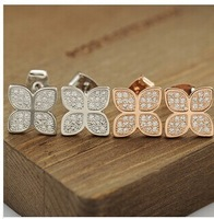 Free Shipping-(Min.Order$20)2014 Hot Sale Lady Aristocratic Temperament Micro mm Zircon Four Leaves Earrings
