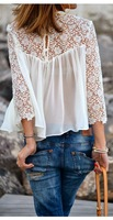 Fashion 2014 Lace White Shirt Long Sleeve Chiffon Ladies Casual Blouse Women Pullover
