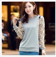2014 big size autumn new lace long sleeve women shirts plus size female loose bat sleeve blouses blusas femininas camisas