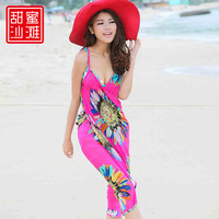 Free Shipping New 2014 Summer Autumn Beautiful Women Beach Dress Bohemia Style Spaghetti Straps Sexy Chiffon One-Piece Dress