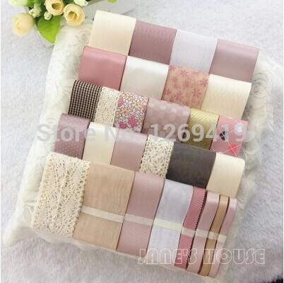 High quality!34 YDS 30 style Mixed Sweet Pink Satin Ribbon / Grosgrain / Cotton Lace Ribbon Cartoon Ribbon Set,DIY Accessory(China (Mainland))