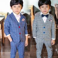 New arrival 2014 Children's clothing child spring autumn casual suits+ vest +pants 3 pieces 100% cotton gingham Blazers&suit set