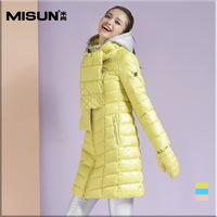 winter woman down coat  White duck with Scarves gloves thickening medium-long slim down coat female