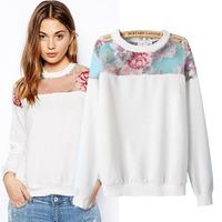 2014 New Perspective novelty sweatshirts women floral printed sweatshirt autumn winter fashion hoody  Sweatshirts free shipping