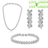 2014 Free Shipping Wholesale Czech import Rhinestones Crystal necklace earrings branelet set fashion Jewelry Sets 80005